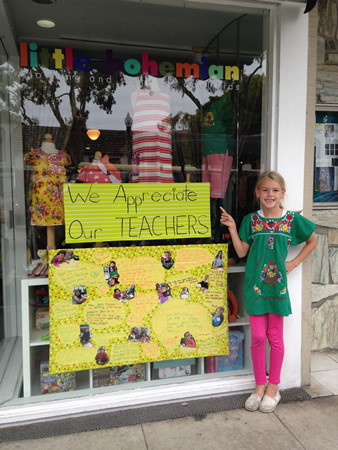 Teacher appreciation week didn't escape the notice of Sadie Holmes, 7, who collected comments from her classmates to let El Morro Elementary teacher Kimberly Krause know she's loved. Sadie displays her love note in Little Bohemian, the downtown shop owned by her mother, Julie Jacobs.Photo by proud grandmother Marji Hall.