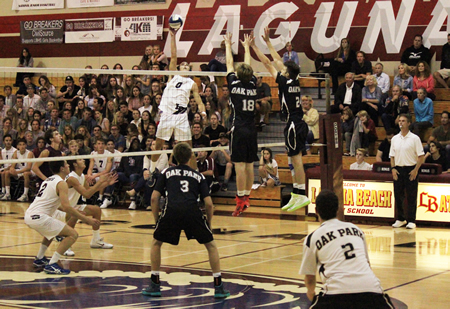 Dane Olson Picked up 14 kills during the Breakers' 3-1 loss to Oak Park in CIF semifinals.