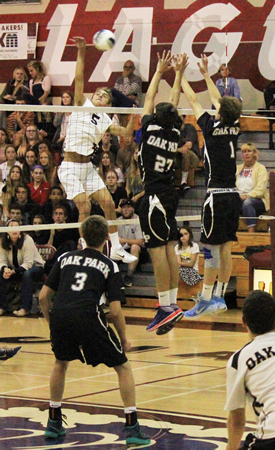 Pete Obradovich led Laguna with 17 kills in a 3-1 loss to Oak Park in CIF semifinals at Duggar Gym. Photos by Robert Campbell.