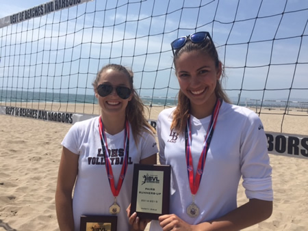 Katelyn Carballo (l) and Cameron Dorn finished second in the Sand Volleyball pairs competition last Saturday at Dockweiler Beach in Los Angeles. Breakers are currently in the team playoffs sweeping Newport Harbor in the opening match this past Monday at Huntington Beach.   Photo courtesy of Laguna Beach Sand Volleyball team
