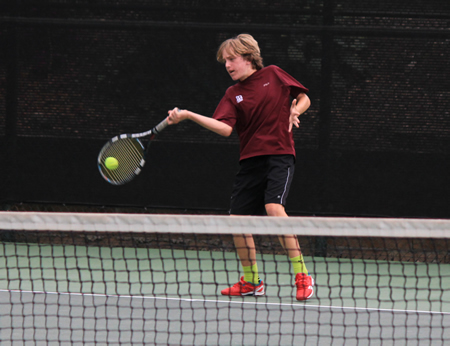 Charles Keller hits a forehand return against Redlands at CIF finals on Friday, May 22, at Claremont Tennis Club. The Breakers lost 12-6.