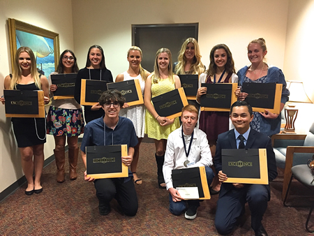 LBHS nominees, from left: Lor Scott,  Natasha Keces, Taya Thomas, Mary Emma Meyer, Lili Cook, Ashleigh Mason, Marlena Becker, Alexandra Lewis, Michael Wogulis (bottom left), Dylan Augenstein and Tanner Flagstad (Gabriela Carey not pictured).