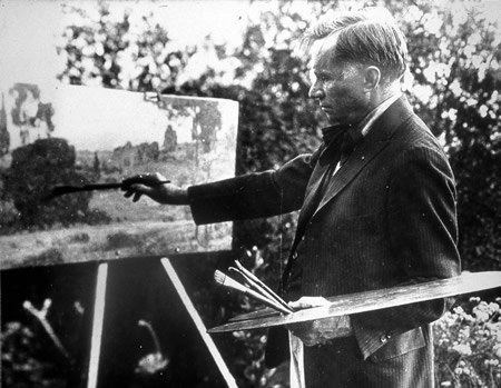 The artist William Wendt at his easel painting outdoors. Photo courtesy of DeRu's Fine Arts.