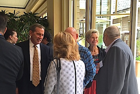 Bob Whalen greets a constituent.