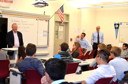 Rep. Dana Rohrabacher, left, gives students studying government an insider's view, joined by teacher Mark Alvarez and Principal Chris Herzfeld.