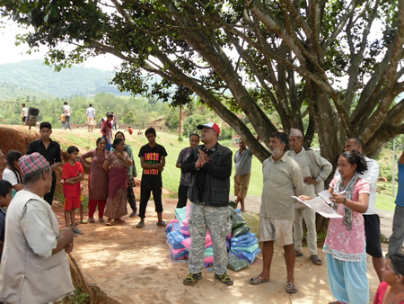 R-Star's program director, Rabindra Sitaula, expresses his solidarity with residents of a quake-damaged village in Nepal.