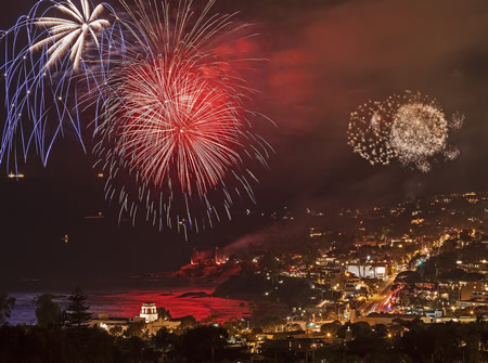 The fireworks display takes place at 9 p.m.