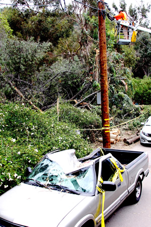 Larry Silva Jr. works on a replacement pole on Arroyo Drive; a falling tree snapped its predecessor, crushing a a car nearby.