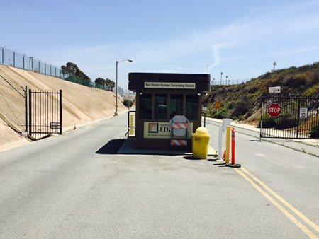 :  Empty guard stations at open gates alarmed local residents about the safety of volatile nuclear waste stored at San Onofre Nuclear Generating Station. photo by Rita Conn.