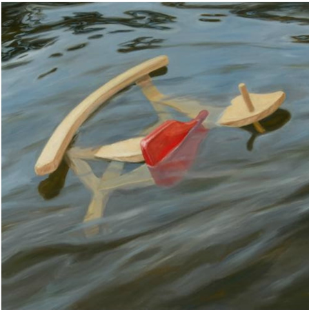 """Robin Hextrum, whose work """"Swept Away"""" is exhibited at the CAP Gallery, joins a free art discussion."""