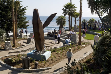 Jon Seeman's whale landed in Heisler Park after the City Council rejected it as a potential traffic distraction outside the senior center.