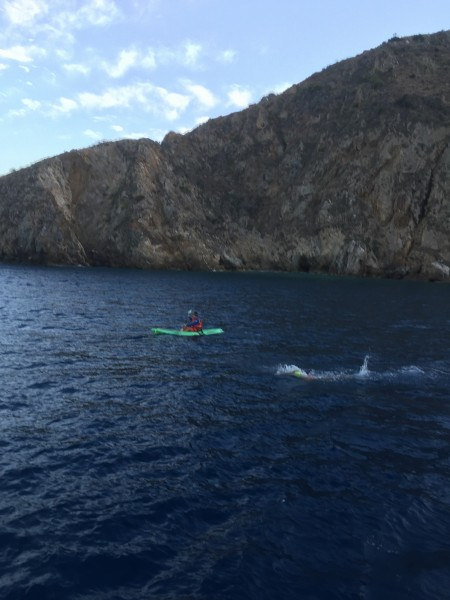 One of the first legs of the relay set out from Catalina on Friday, Aug. 7.