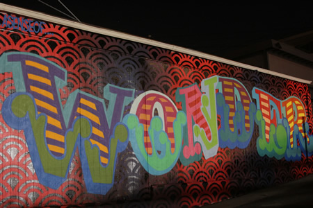 "Street artist Ben Eine finishing ""Wonder,"" on the Coast Pet Supply building in North Laguna."