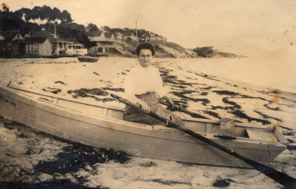Catherine Brooks, matriarch of the Skidmore and Brooks clan, at Main Beach where the Brooks family home was located.