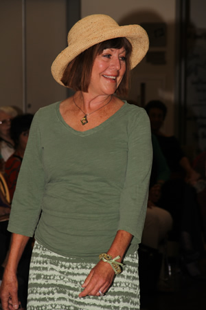 Tina Haines doffs a new hat, as fashion model.