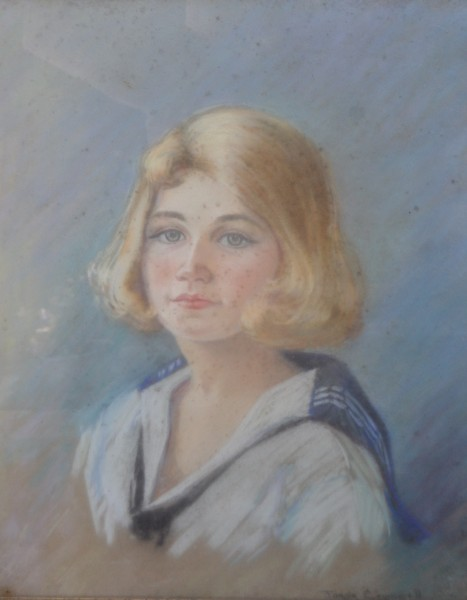 A portrait of Joyce Lowell as a girl by artist Joane Cromwell, Joe Skidmore's second wife. Circa 1930s.