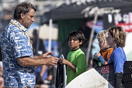 Victoria skimboards owner Tex Haines gives last minute heat instructions to the sport's future.