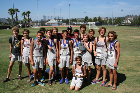 Freshman runners, from left, back: Michael Mead, Andrew Doudna, Carter Sokolovic, Zack Falkowski, Coach Kevin Tovar, Sam Reynolds and Cole Hunt; front, Caleb Hardy, Sebastian Fisher, Kevin Smith, Leo Pasquera , Connor Gioffredi, Zack Bonnin and Colin Johnson; front, Luke Pacheco.  Photos by Coach Scott Wittkop.