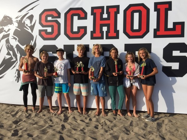Thurston finalists and Tess Booth on shortboard.