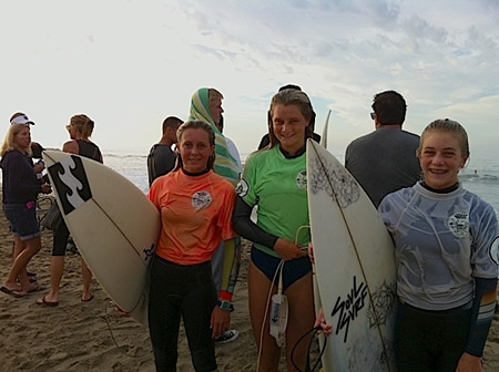 Shortboard winners, Kayla Coscino, Claire Kelly and Destiny Thompson.
