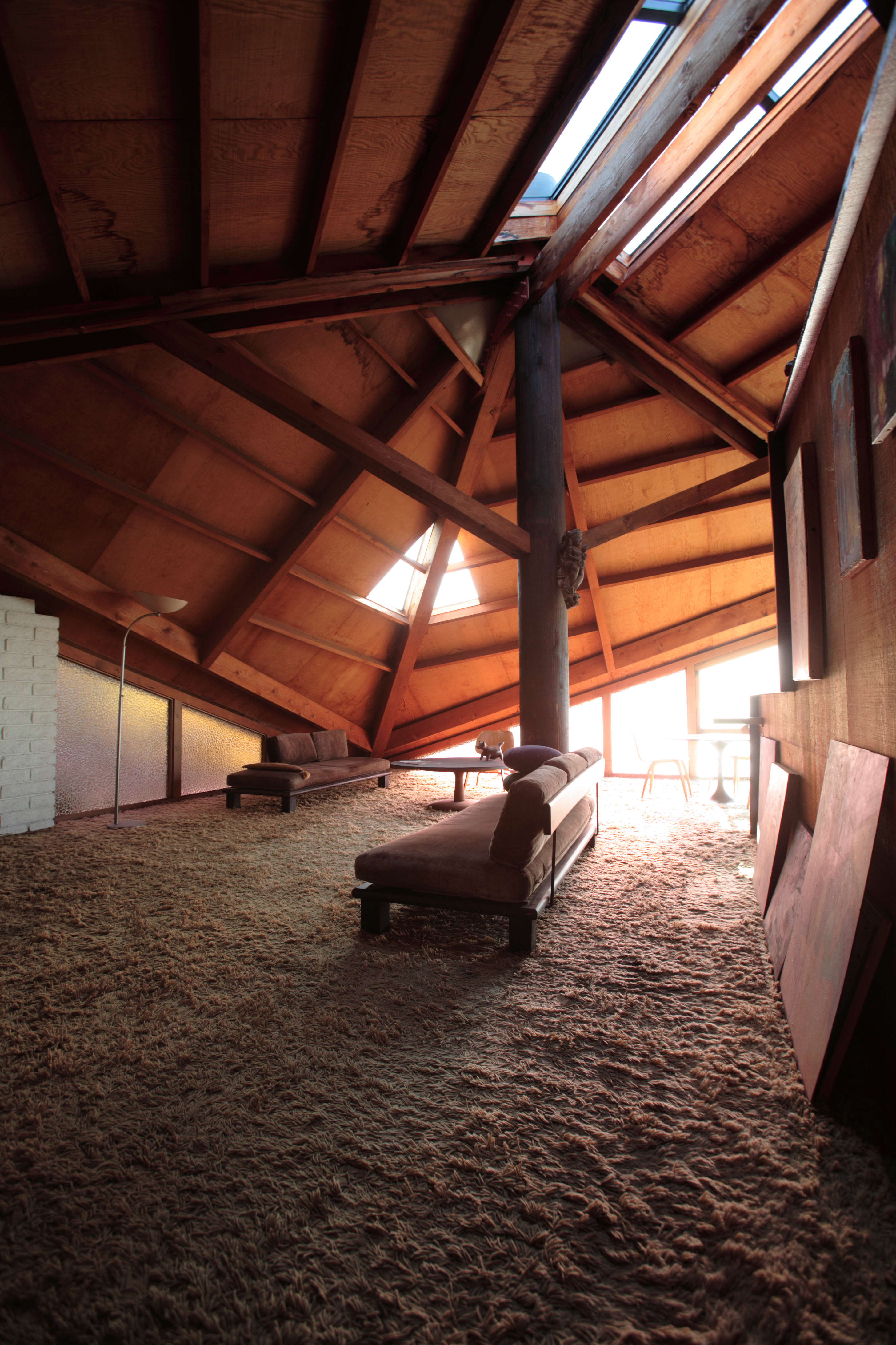 An interior view of the clamshell house.