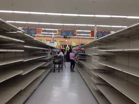 Final customers scavenge remaining inventory at the Laguna Beach Haggen store.