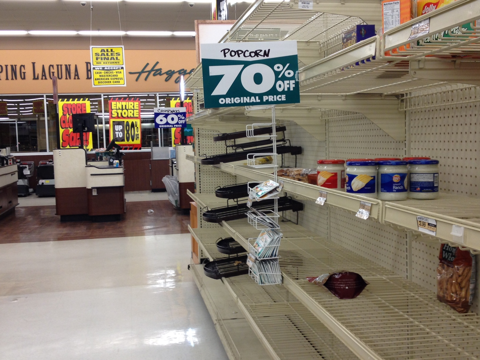 The scarce inventory on the last day of operations by Haggen in South Laguna.