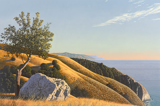 """""""Grimes Point,"""" an example from a David Ligare retrospective on exhibit at the Laguna Art Museum."""