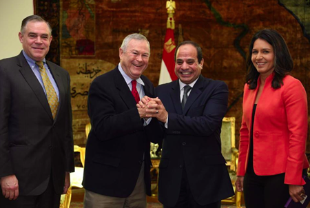 Rep. Dana Rohrabacher and Rep. Tulsi Gabbard, D-Hawaii, right, in November meet with Egypt's President al-Sisi in Cairo to strengthen an alliance against Islamic terrorists.