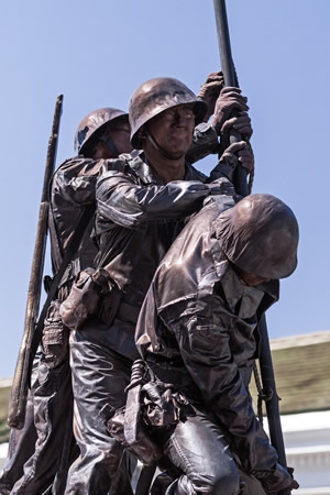 The Pageant of the Masters won the President's Theme Trophy with its entry recreating the Marine Corps memorial with six live actors depicting the servicemen who raised the flag World War II Battle of Iwo Jima.Photo by Mitch Ridder.