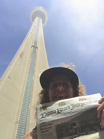 Lisa Farber managed a selfie in front of the CN Tower in Toronto, Canada, while visiting her family in June.