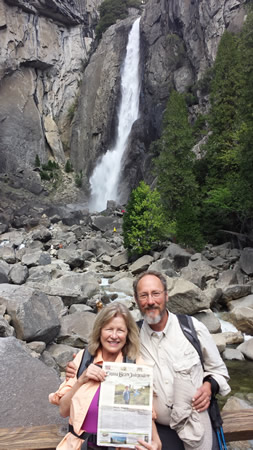 Locals Richard Hendlin and Dr. Jane Bening visited still-flowing Yosemite Falls in Yosemite National Park in June.
