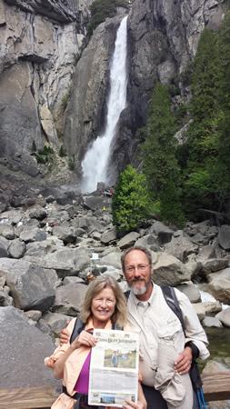 Locals Richard Hendlin and Dr. Jane Bening visited still-flowing Yosemite Falls in Yosemite National Park in June.