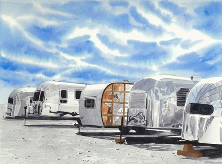 """David Milton's """"Airstream Boneyard,"""" courtesy of the artist and valued at $4,900, is in the auction. Starting bid: $2,450"""