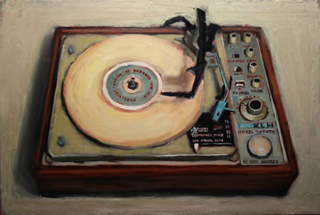 "Another auction item, Bradford Salamon's ""KLH Turntable,"" valued at $3,900. Starting bid: $1,950"