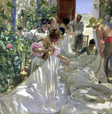 An example of work inspired by Sorolla seen in the exhibit.