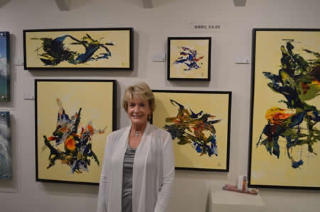 Sheryl Sauer with her work.