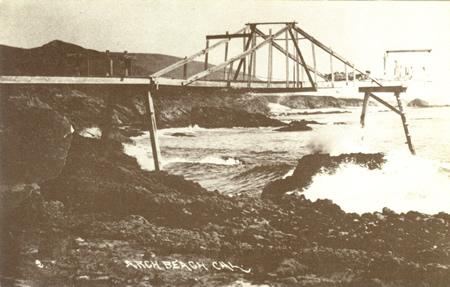 Laguna's first pier, Arch Beach Pier in Tom Pulley Postcard Collection courtesy of Laguna Beach Historical Society.