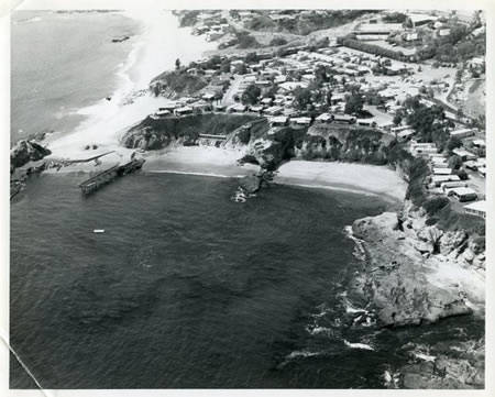 An aerial view of Treasure Island Beach and the mobile home park.
