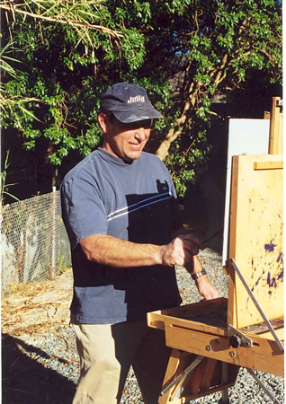 Auster at his easel.