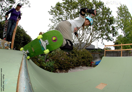 Barbara Odanaka practices on a backyard ramp. Photo by Dan Hughes.