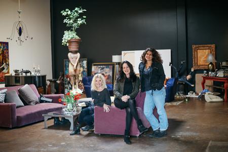 From left, Sandra Jones Campbell, Ava Burton and Lojo Simon raise the curtain on a new play. Photo by Jody Tiongco.
