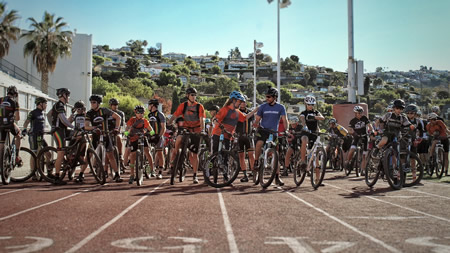 Riders eagerly await the start the Dirt Fondo challenge that set out from Laguna Beach High School last November.