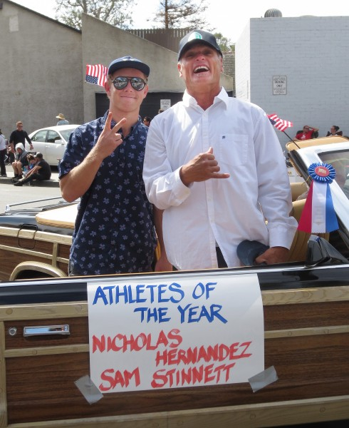 Sam Stinnett ,left, and Nicholas Hernandez lll were Athletes of the Year Laguna Beach 50th Patriots Day Parade on Forest Ave. on March 5, 2016.