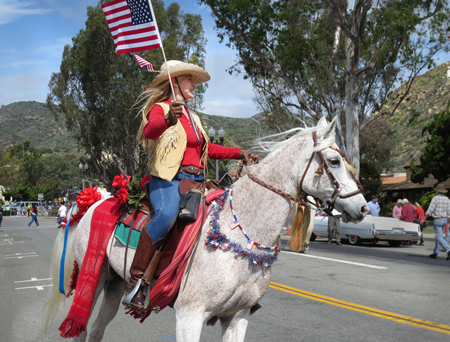 Laguna Beach Sister Cities Association Arabian horse back rider at the 50th Patriots Day Parade.