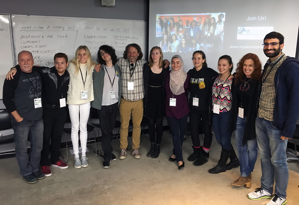 Music in Common participants, from left, facilitator Warren Seiler, Amr Moussa, Evie Cant, Koby Taswell, organizer Jason Feddy, Aria Gittelson, Bushra Kanawati, Anna Light, Catarina Paton, facilitators Alisa Eisenberg and Sinah Isak.