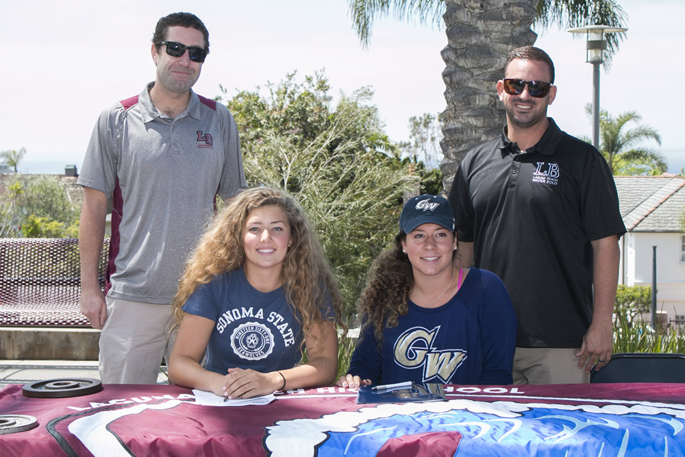Girls water polo coaches Trevor Lyle and Ethan Damato, far right and left, with water polo players Keira Dailey, second from left, bound for Sonoma State, and Ally Jochim, heading to George Washington. Photos courtesy of Laguna Beach USD