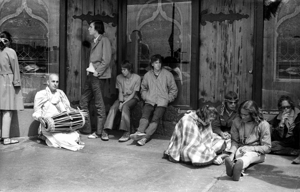 Outside Mystic Arts World, the Brotherhood store, on March 8, 1970, an image from an exhibition in 2015 at Coastline Community College.