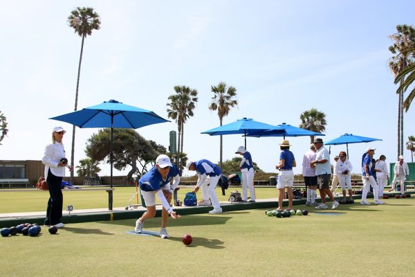 The Laguna Beach Lawn Bowling Club in Heisler Park offers free lessons Saturday, May 7, during its annual open house. The ocean-bluff location draws visiting bowlers to the club, which last month celebrated its founding 85 years ago. Photo by jody Tiongco.