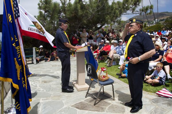 Post Commander Richard Moore, left, and Chaplain Norm Abbod,during an earlier ceremony at Heisler Park's Monument Point. Photo by Jim Selkin.